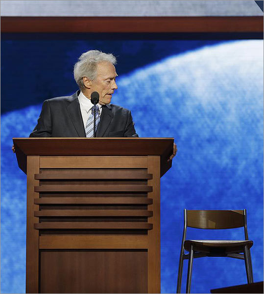 Clint Eastwood addresses empty chair Award-winning Hollywood actor and director Clint Eastwood had millions of people talking after he pretended to address President Obama by awkwardly talking to an empty chair for about 12 minutes during the Republican National Convention in late August. Eastwood later said the decision to use an empty chair was largely improvised.