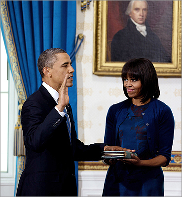 The first lady made headlines during the Jan. 20 swearing-in of the president not for her clothes, but for her hair. She'd previously tweeted a photo of the new 'do , but it was the first time many saw it.