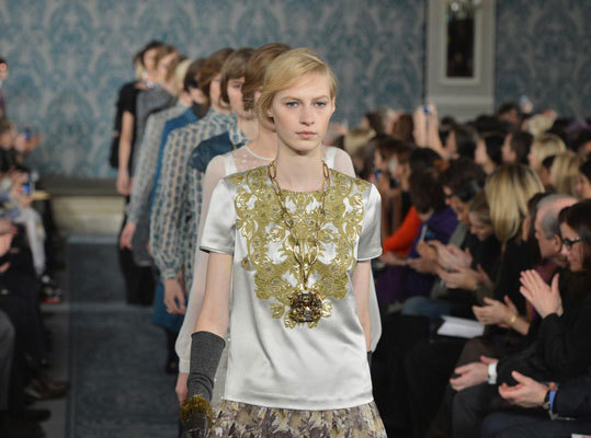The final walk at Tory Burch's fall 2013 show at the Pierre Hotel on Feb. 12.