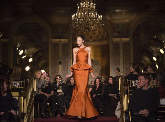 Zac Posen presented an intimate showing of his collection at the Terrance Room at the Plaza Hotel on Feb. 10.