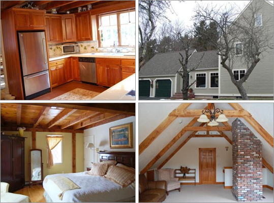 This Hingham house has three bedrooms, 2 &frac12 bathrooms, and 2,840 square feet of living space. How much does this house cost? Correct! This answer is incorrect. Please try again. $615,900 $739,900 $821,900 This house has an open floor plan with a fireplaced, country cherry kitchen, cathedral ceilings, and a deck.