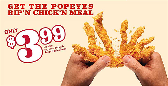 Popeye's Rip'n Chick'n Popeye's is returning this item to its menu for most of April . It's not just food, it's a toy.