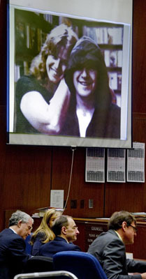A photo of Linda and John Sohus was projected on a screen at the Clara Shortridge Foltz Criminal Justice Center as defendant Christian Karl Gerhartsreiter sat with his lawyers on March 25.