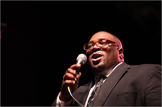A singer in the Preservation Hall Jazz Band.