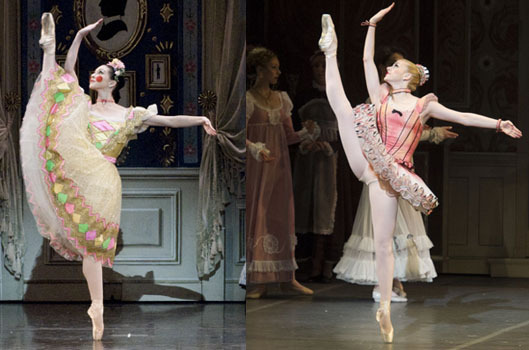How much did the costumes of The Nutcracker change when the Boston Ballet revamped them in 2012? Click through the gallery to see how many costumes -- often dramatically -- transformed. At left, Ballerina Doll , as worn by Kathleen Breen Combes (left) and Whitney Jensen (right).