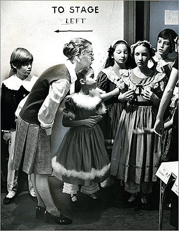 Before the party could begin, Clara could take the stage, or the presents could be handed out, a lot of work had to go on behind the scenes of each year's The Nutcracker . Travel back in time to see the action behind the scenes over the course of the last few decades. At left, before the December 11, 1975 show, Sydney Leonard, ballet mistress of the Boston Ballet, offered some last-minute advice to younger members of the cast.