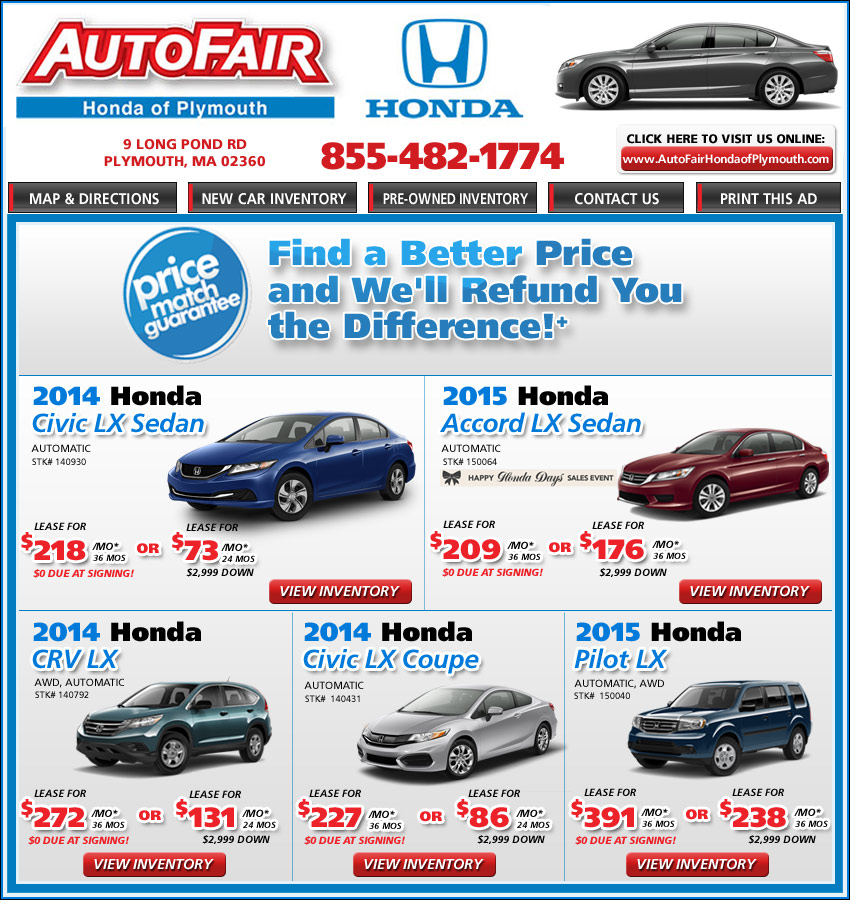 New Honda Lease/Buy AutoFair Honda in Plymouth, MA on Boston.com