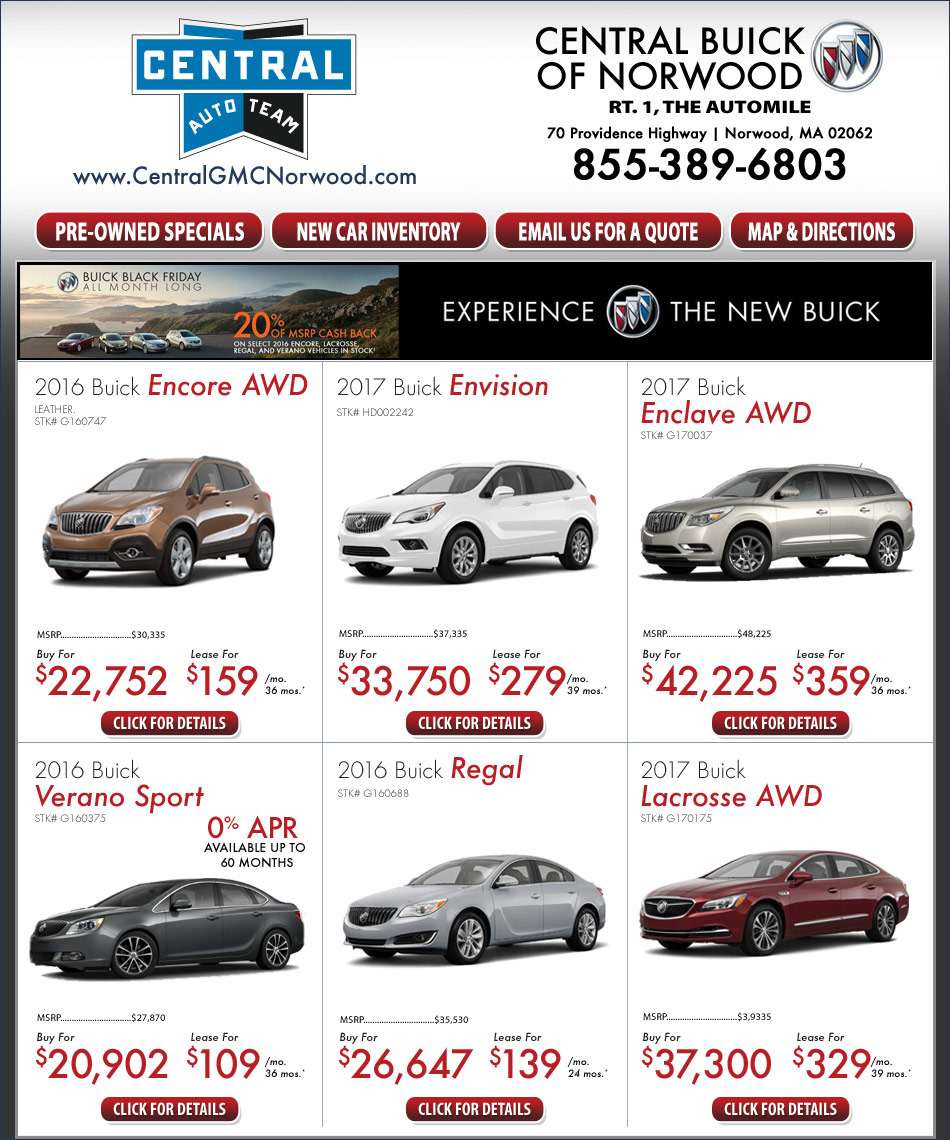 Buick Lease Deal: Central Buick On The Automile In Norwood, MA Boston New