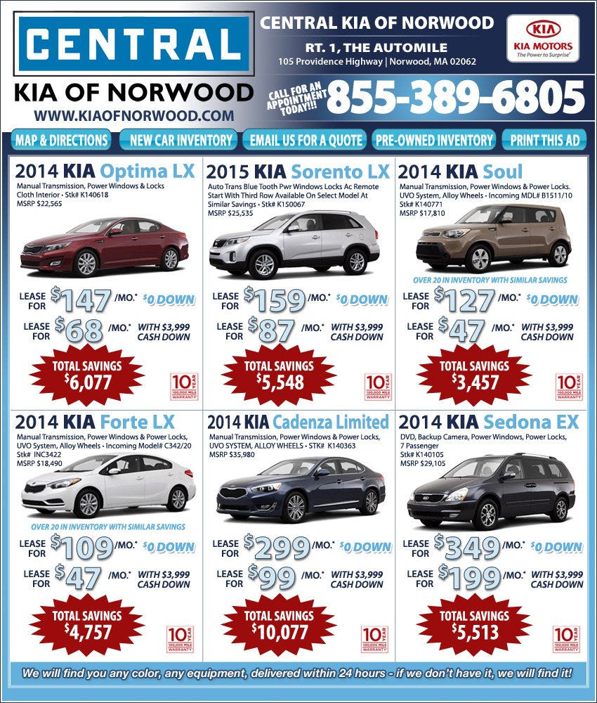 Central kia on the automile in norwood ma for Central motors norwood ma