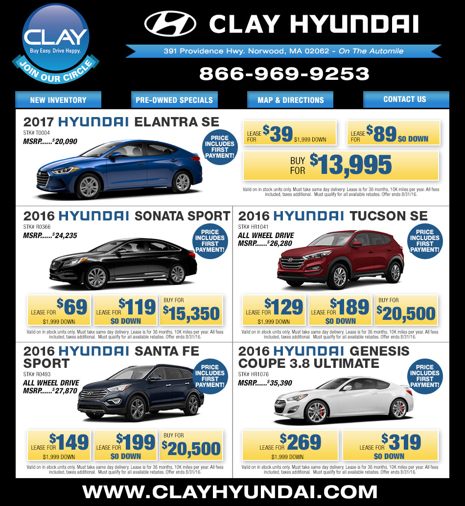 Clay Hyundai on Boston.com - On the Automile in Norwood, MA