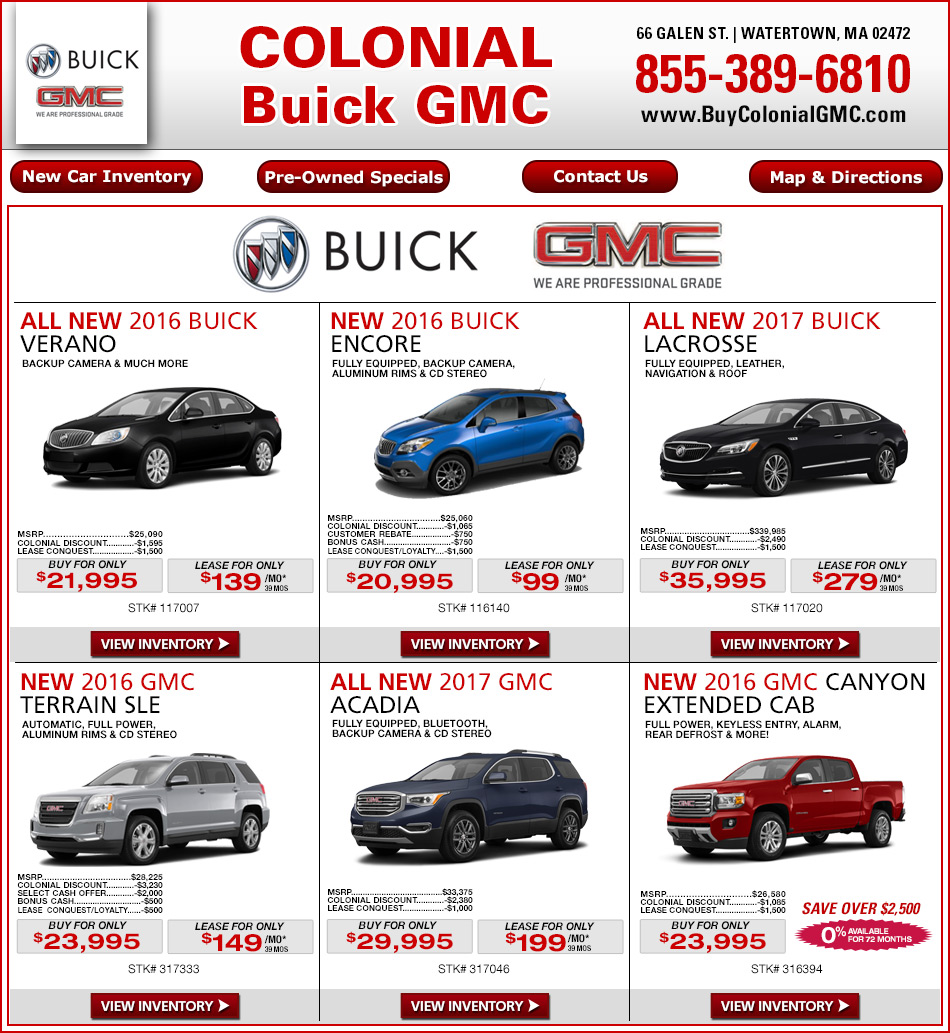 Buick Lease Deal: Colonial Buick GMC New Car Deals