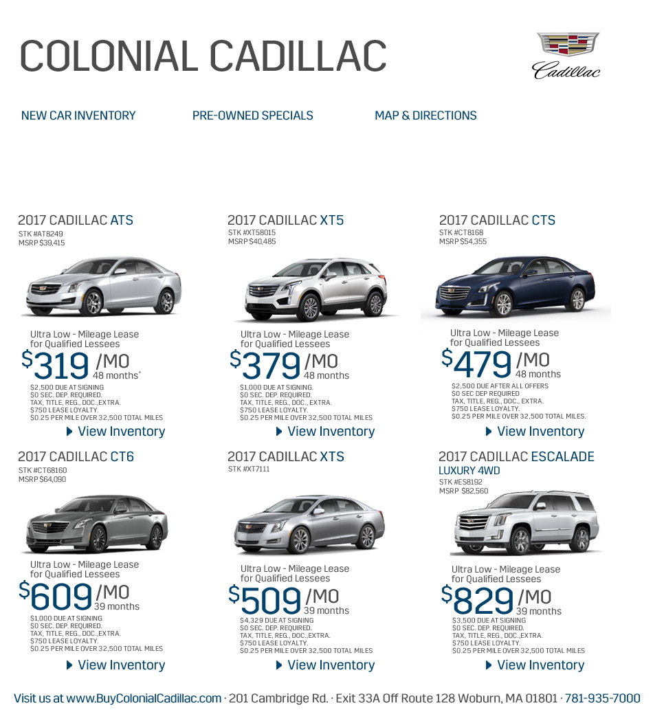Cadillac Lease Special: Weekly Specials From North Of Boston Cadillac Dealers