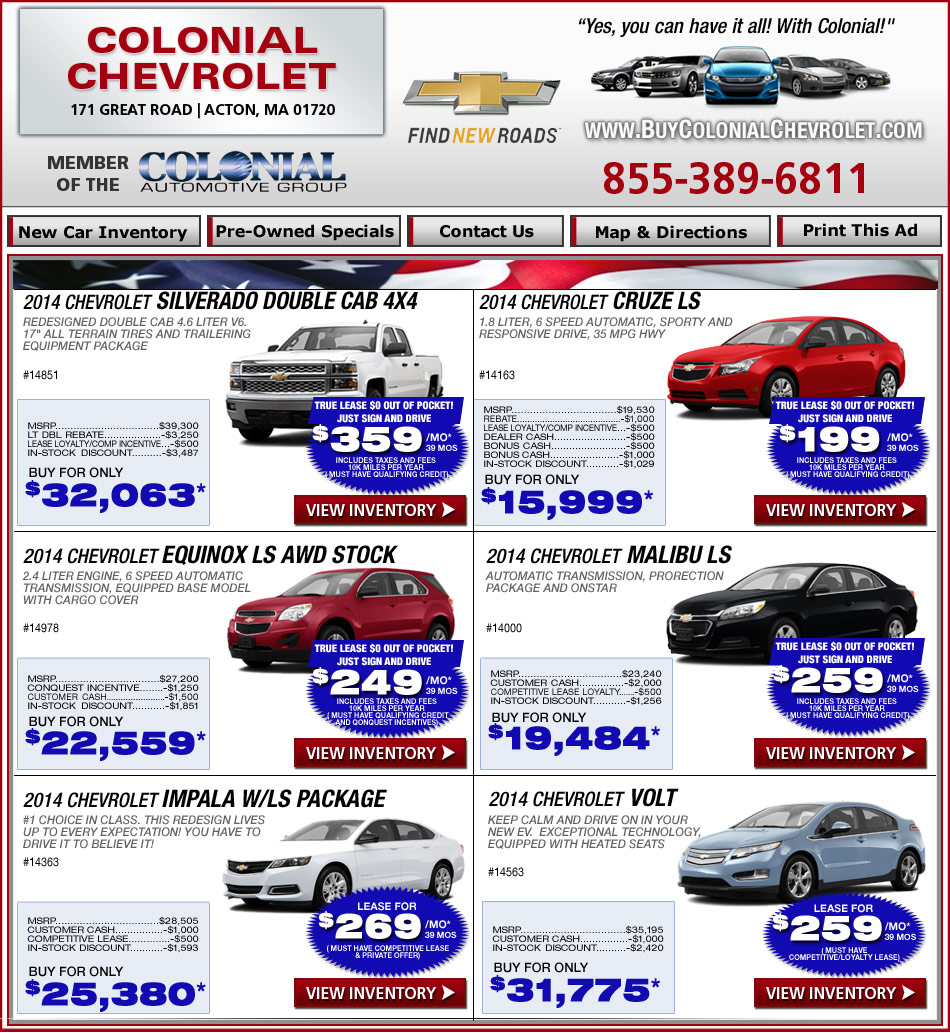 colonial chevrolet current chevy deals at. Cars Review. Best American Auto & Cars Review