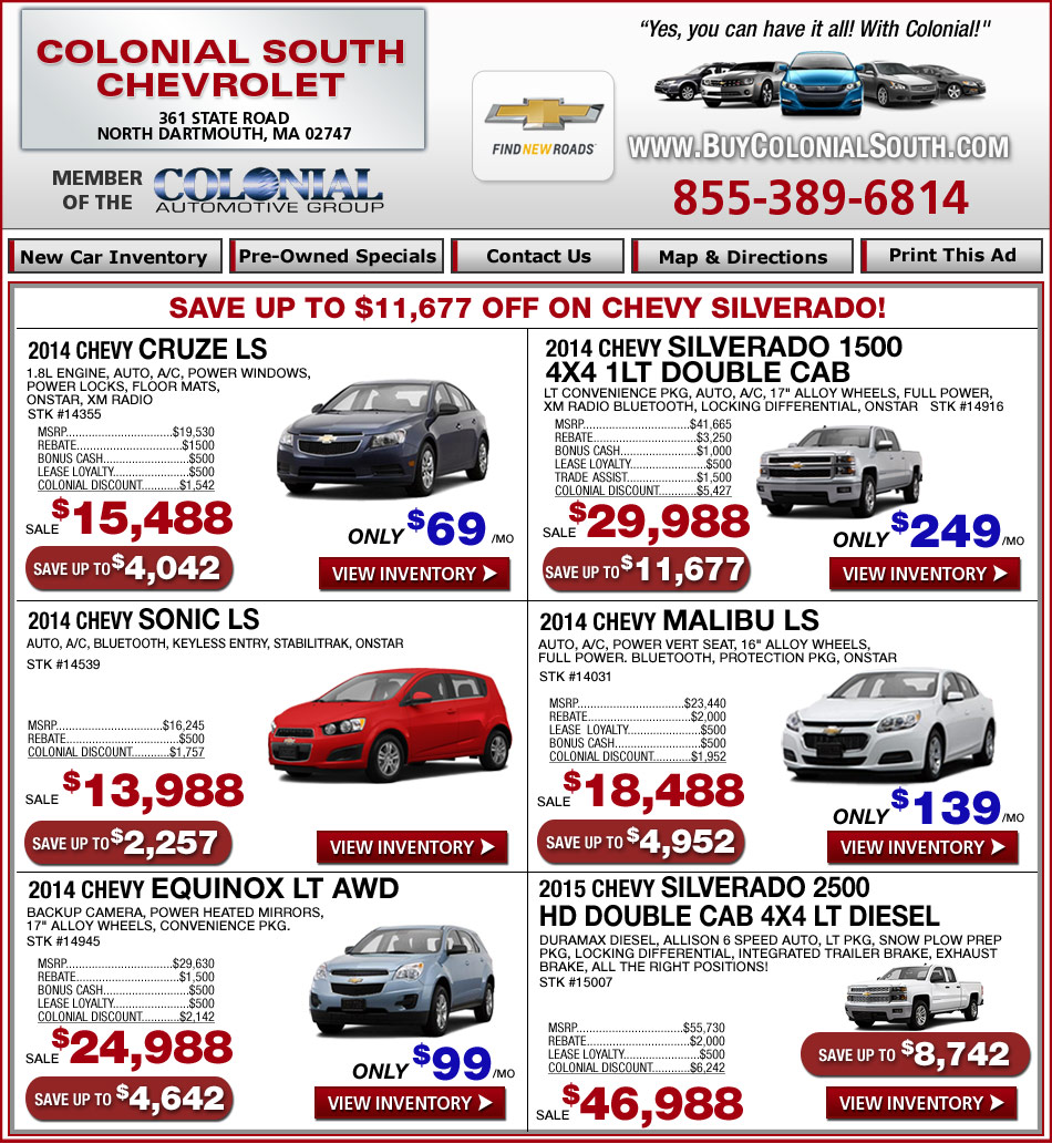 colonial chevrolet south current chevy deals at. Cars Review. Best American Auto & Cars Review