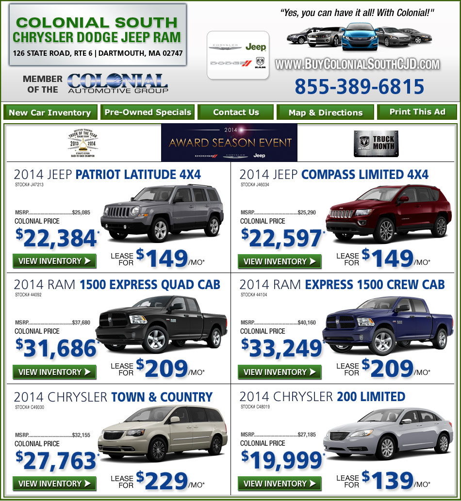 Boston Com Colonial South Chrysler Jeep Dodge New Car Deals
