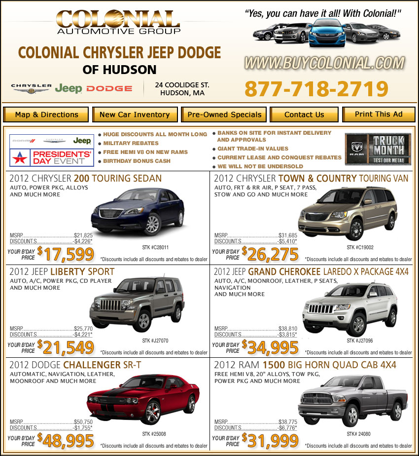 Colonial Chrysler Jeep New Car Deals