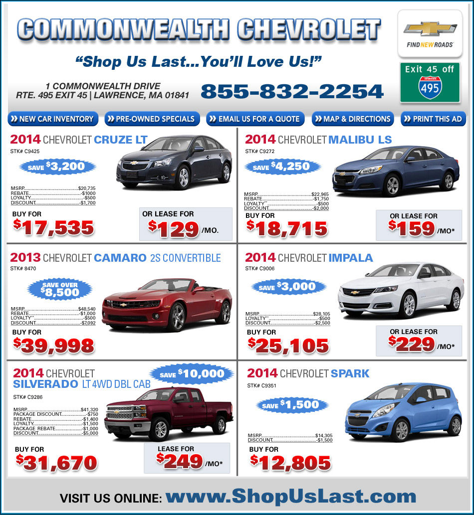 Commonwealth chevrolet offers on ma chevy dealer Commonwealth motors used cars