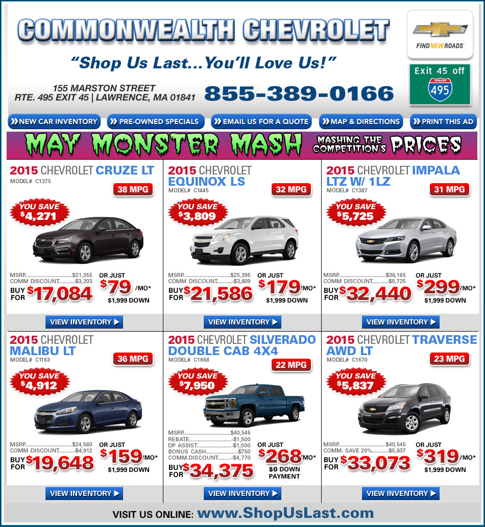 Commonwealth Chevrolet Offers On Ma Chevy Dealer
