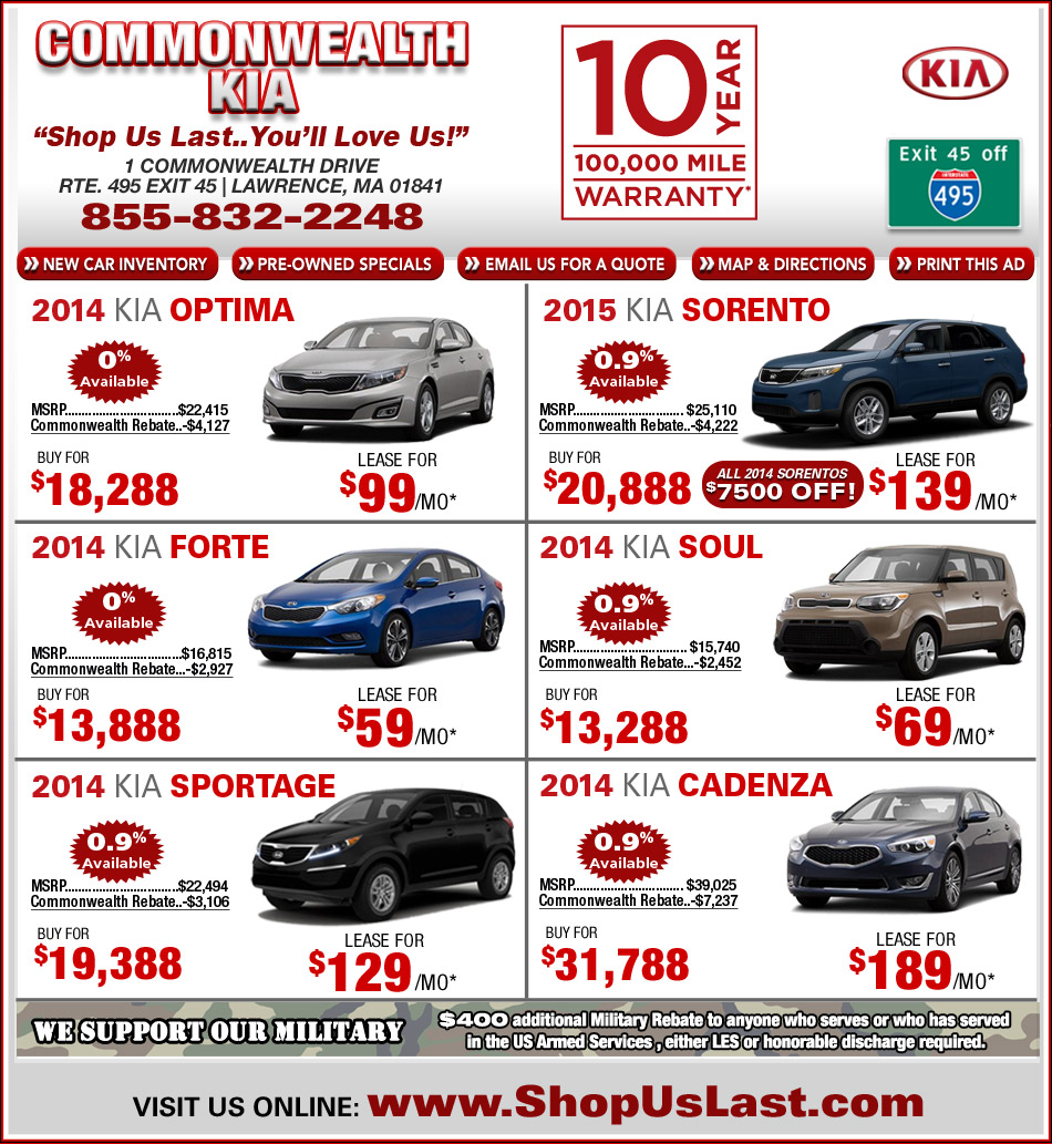 Commonwealth Kia Offers On Massachusetts Kia