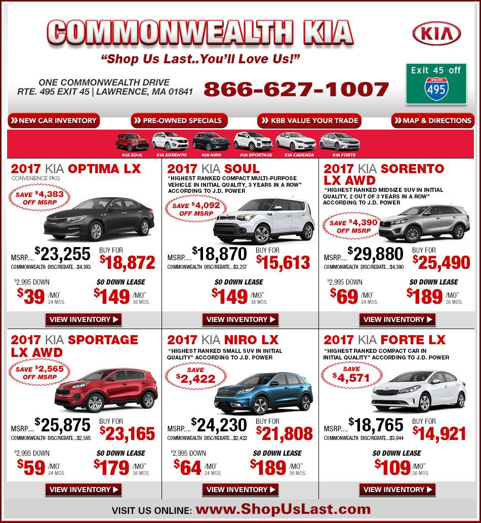 Commonwealth kia offers on massachusetts kia for Kia motors lease specials