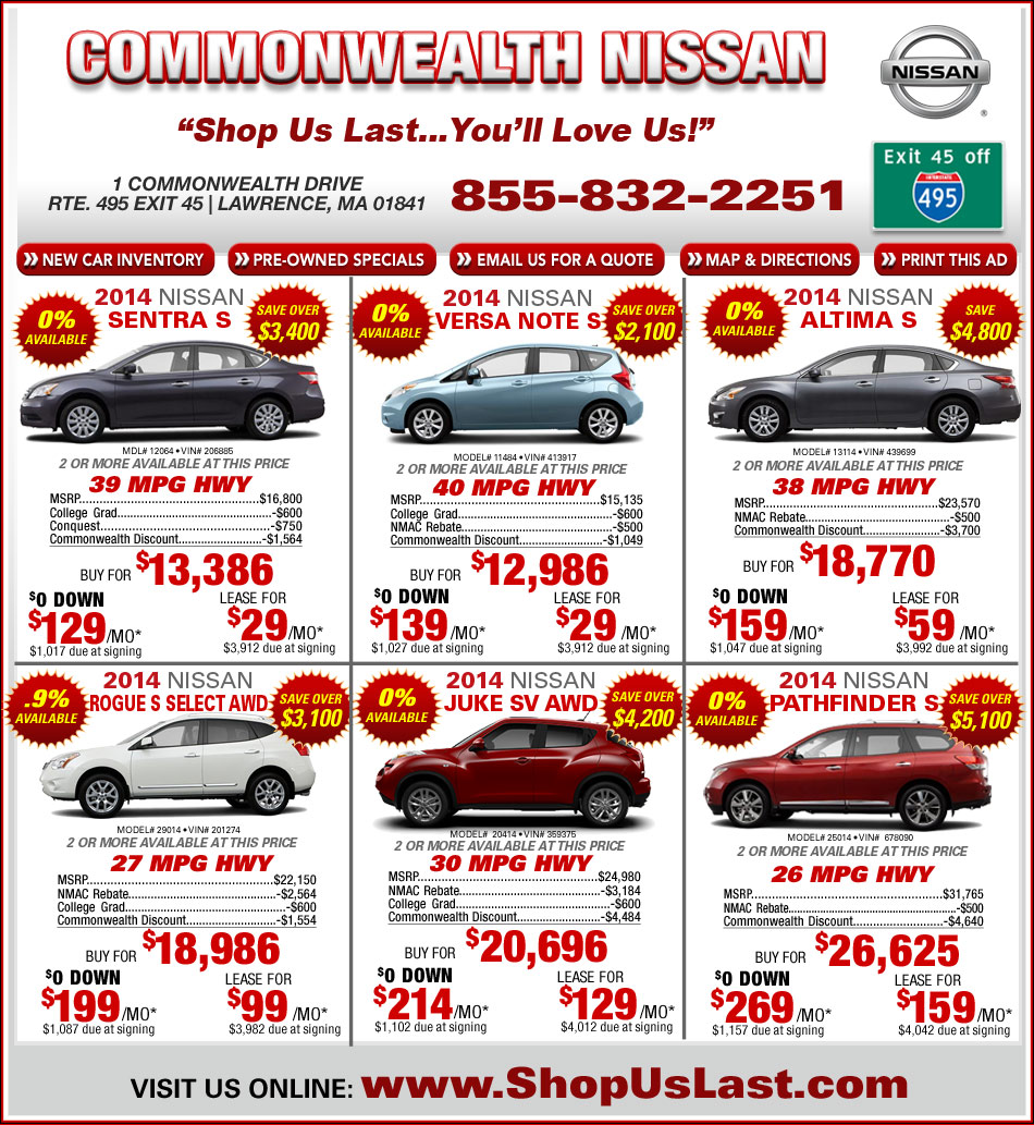 Commonwealth nissan offers on massachusetts Commonwealth motors used cars