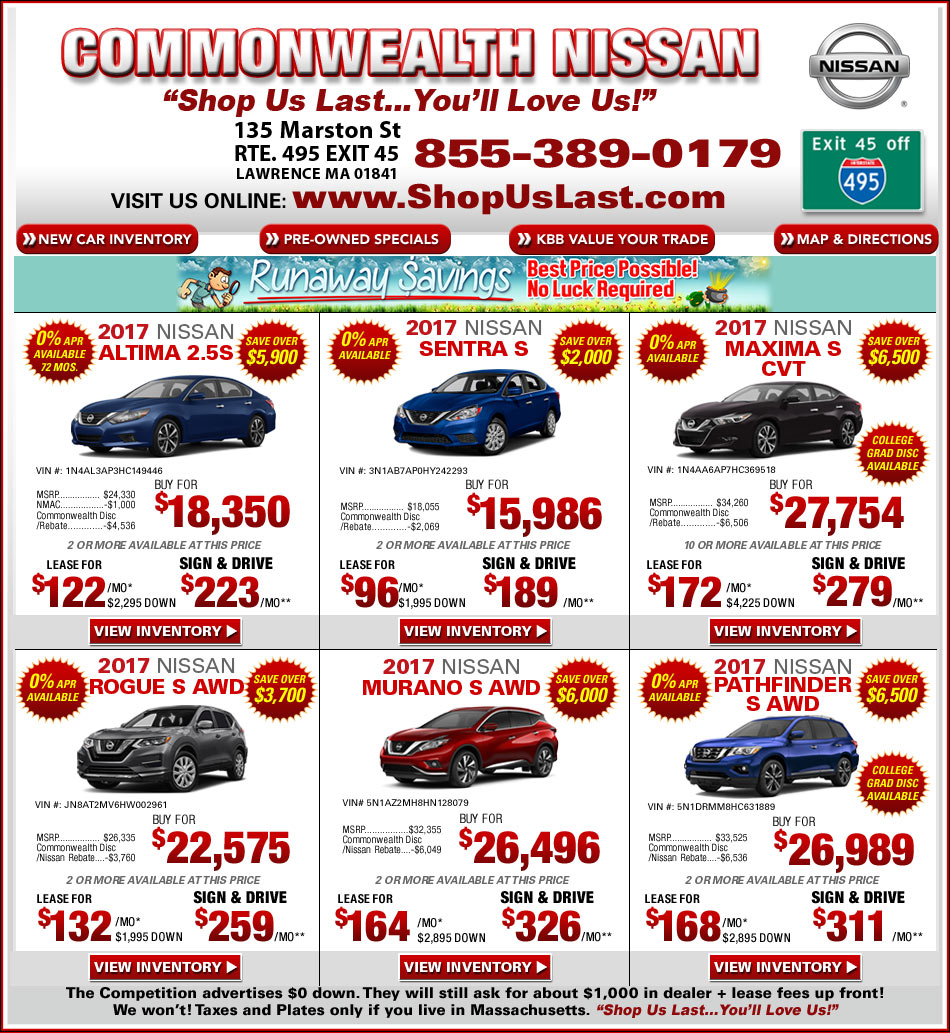 Commonwealth Nissan Offers On Massachusetts