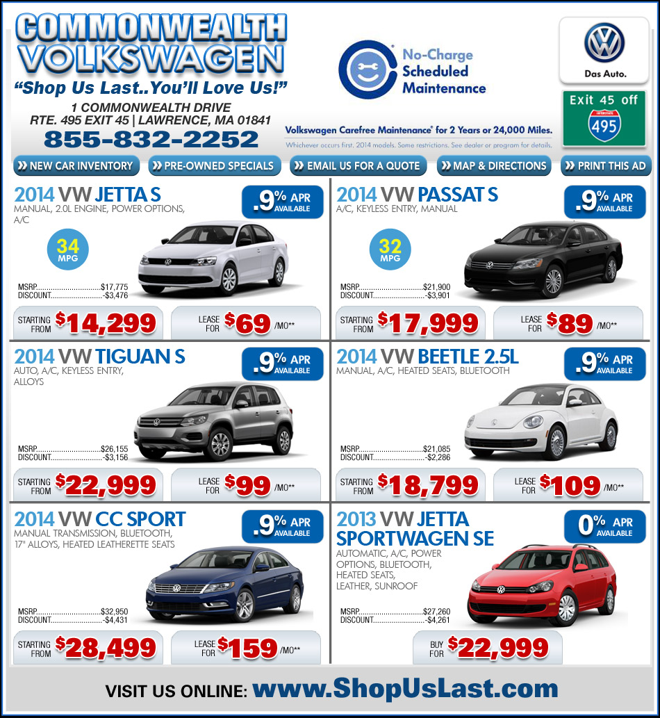 Ma Vw Dealers Commonwealth Vw Lawrence Ma Volkswagen Deals