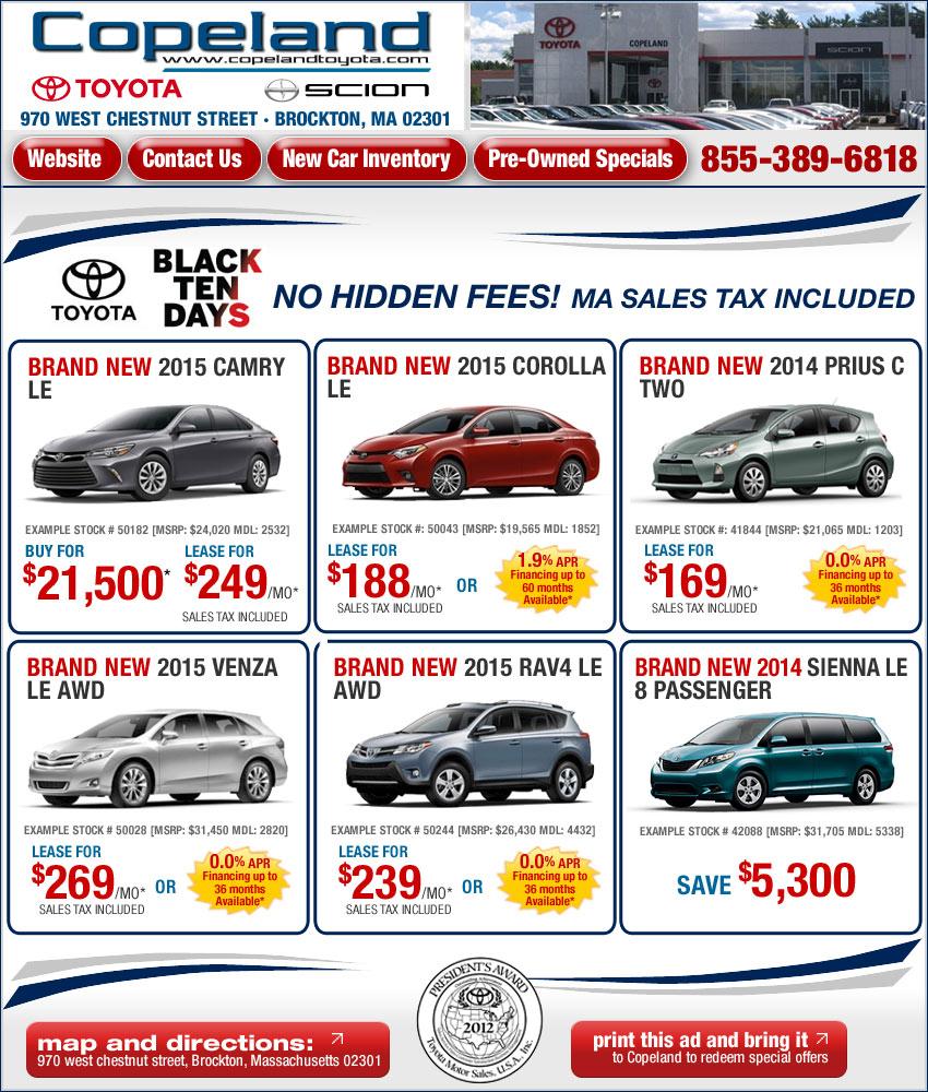 Massachusetts Toyota Dealers Copeland Toyota Deals