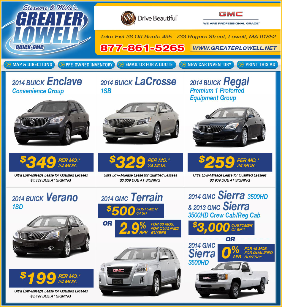 Buick Lease Deal: Shop Greater Lowell Buick Pontiac GMC Deals On Boston.com