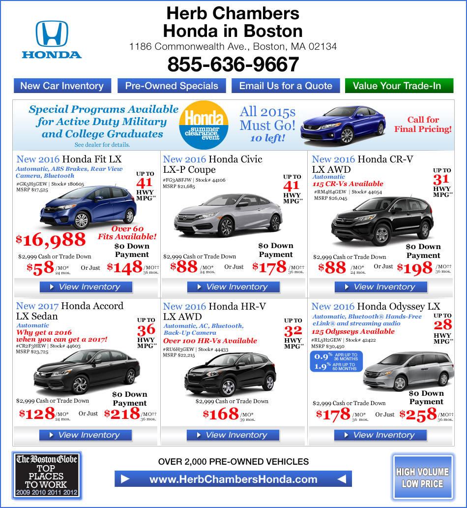 Herb chambers honda in boston honda dealers boston for Herb chambers boston honda