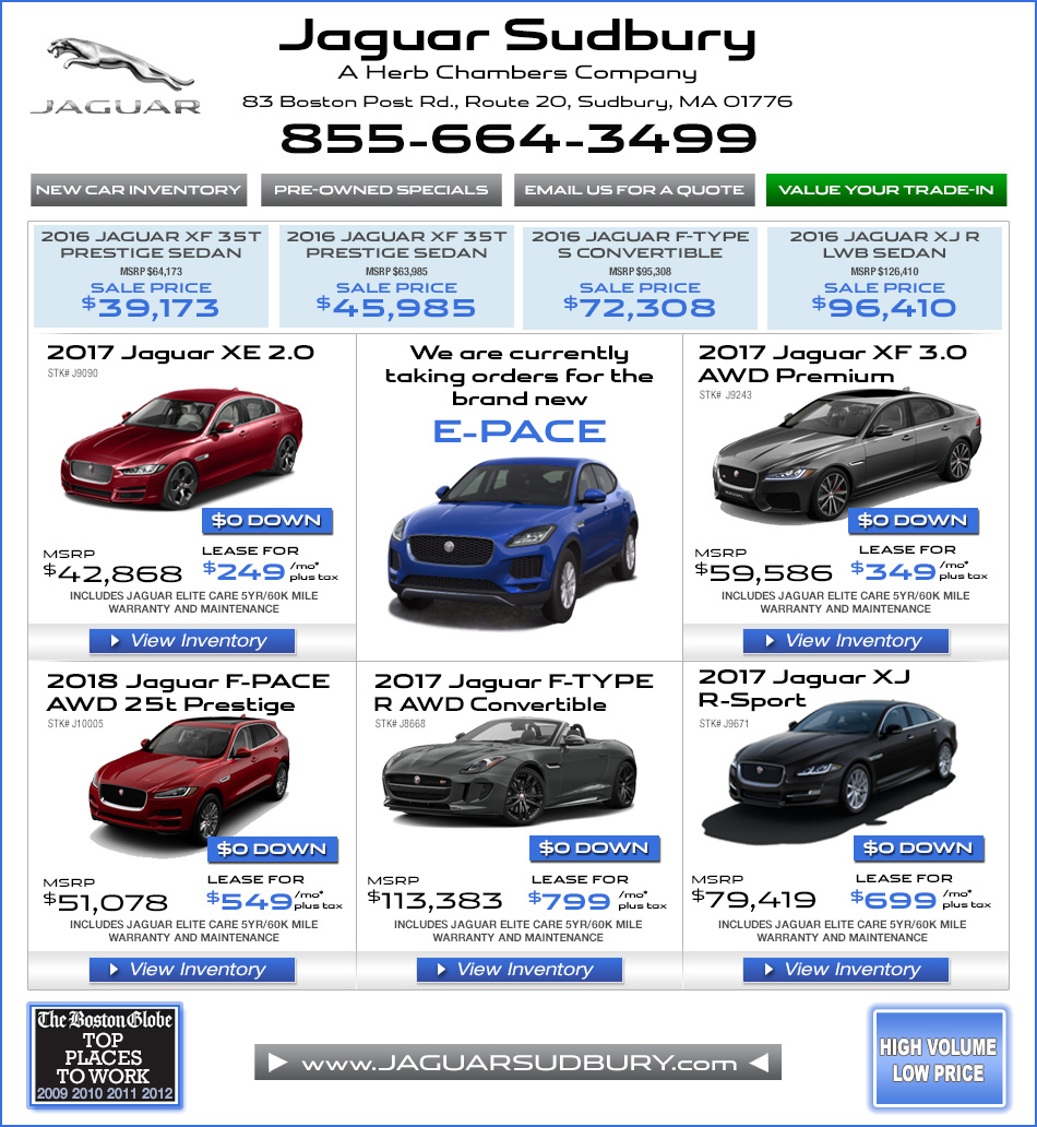 Jaguar Lease Price: Jaguar Sudbury, A Herb Chambers Company