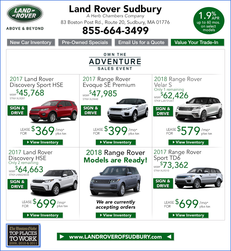 Land Rover Specials In Sudbury Near Boston