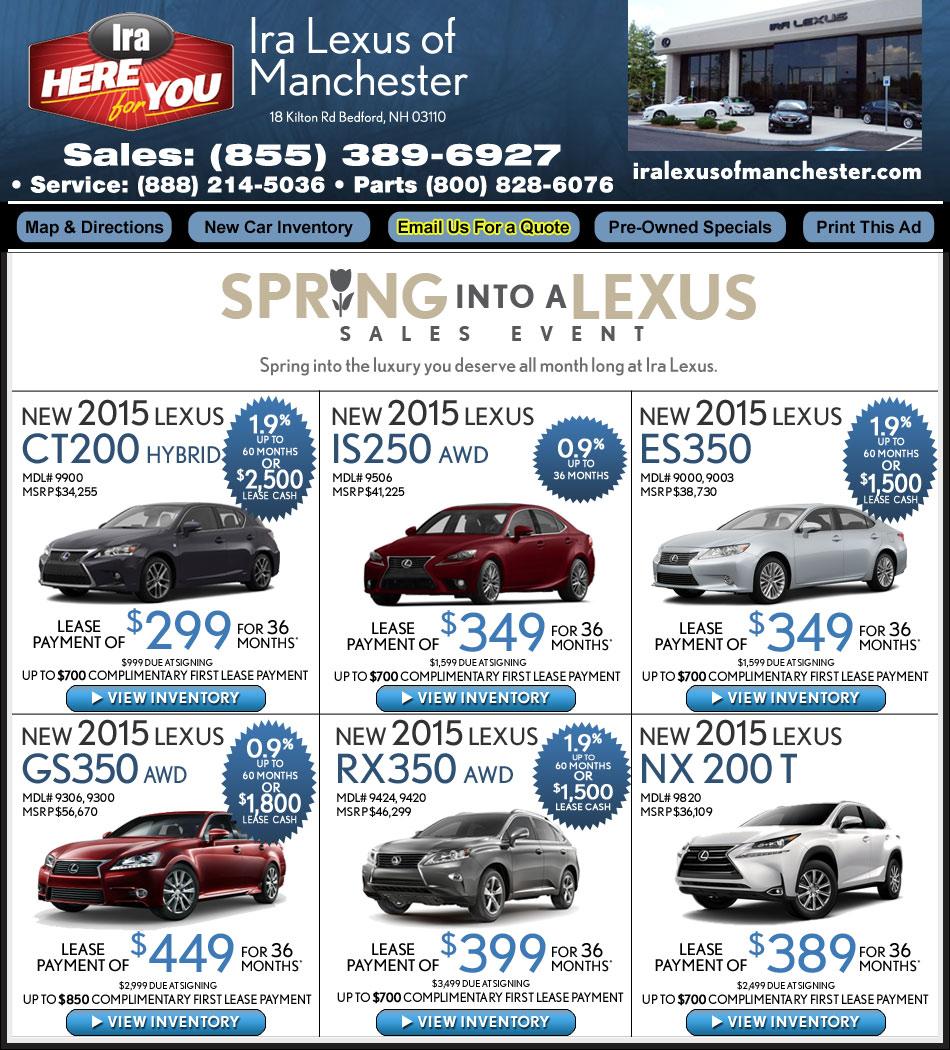 Lexus Car Lease: Lexus Dealer In Manchester, NH : Ira Lexus