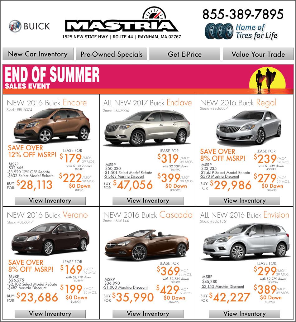 Buick Lease Deal: Shop Mastria Buick Raynham New Car Offers Online