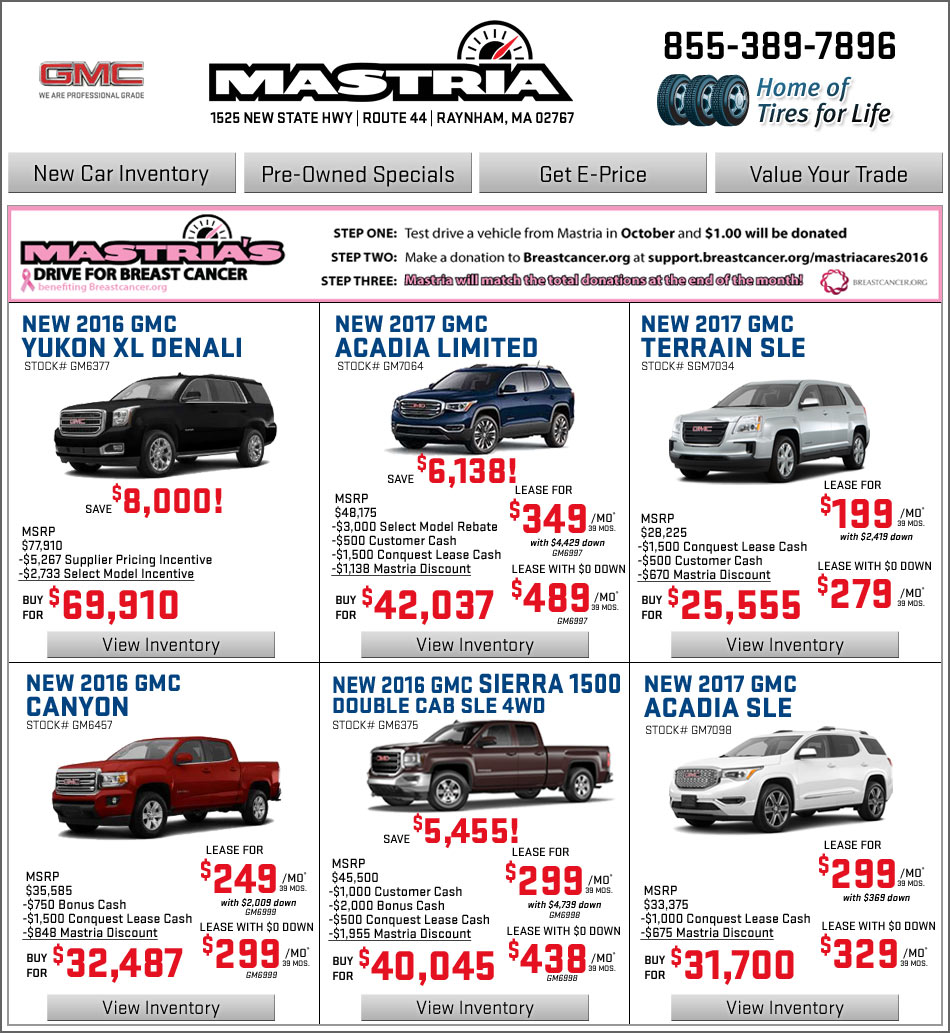 Mastria Nissan Raynham Boston.com Shop Mastria GMC New Car Offers Online!