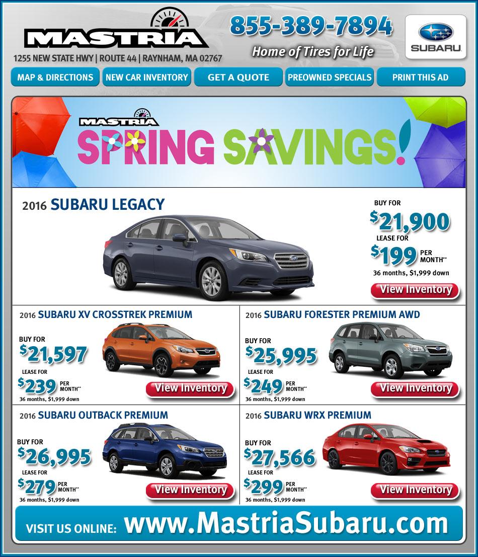 Mastria Nissan Raynham Boston.com Shop Mastria Subaru Dealer New Car Offers Online!