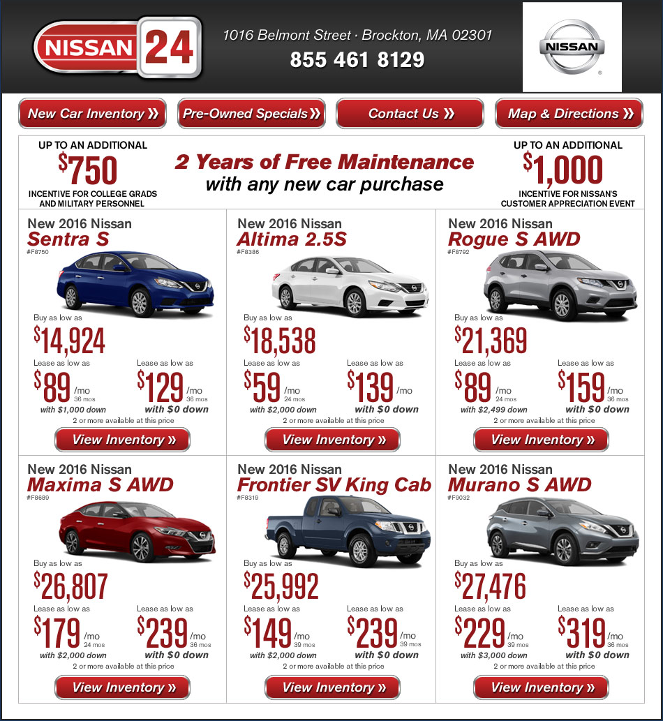 Nissan 24 New Car Offers On Boston Com Buy Or Lease