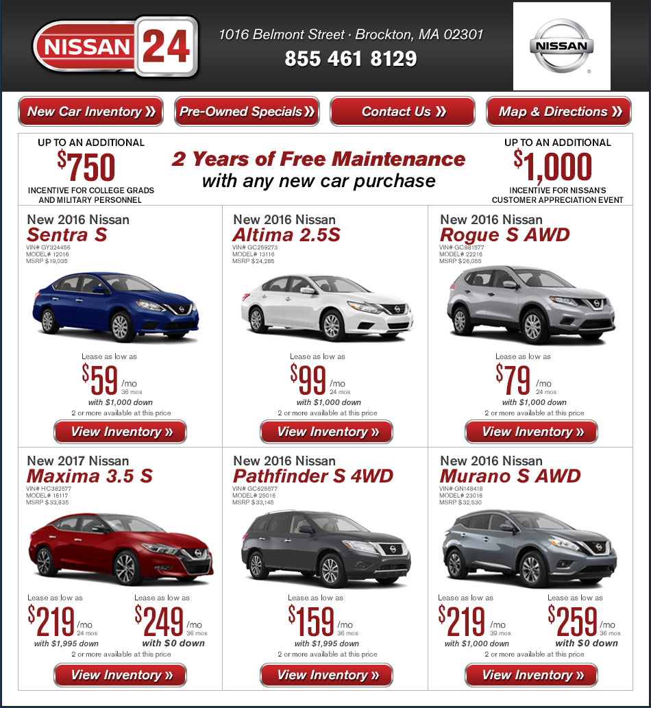 Nissan 24 new car offers on buy or lease for Motor vehicle id price