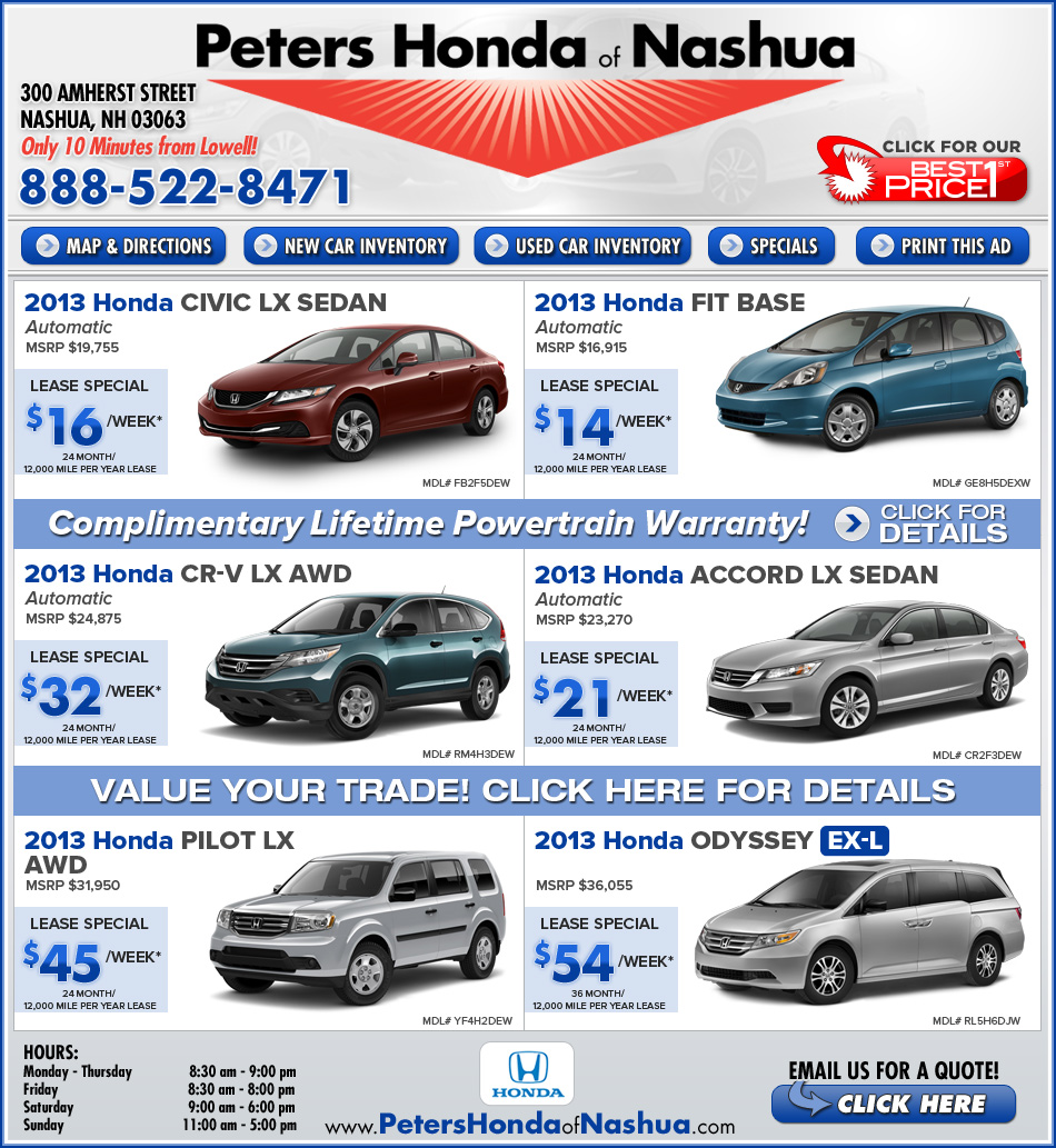 Shop peters honda of nashua nh new car deals on for Peters honda of nashua