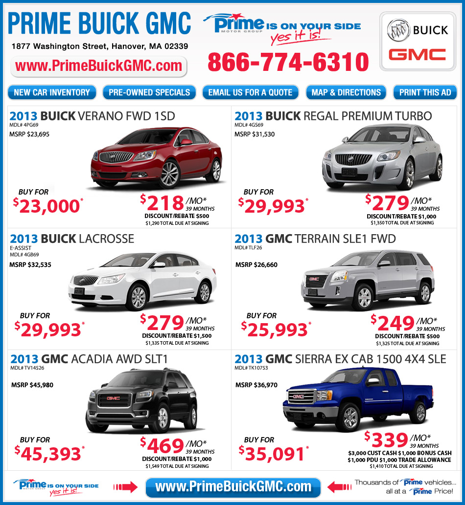 Buick Lease Deal: Buick GMC Dealer In Boston : Prime Buick GMC