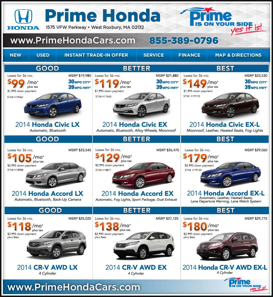 Honda Dealer In Boston Prime Honda Great Deals For Boston