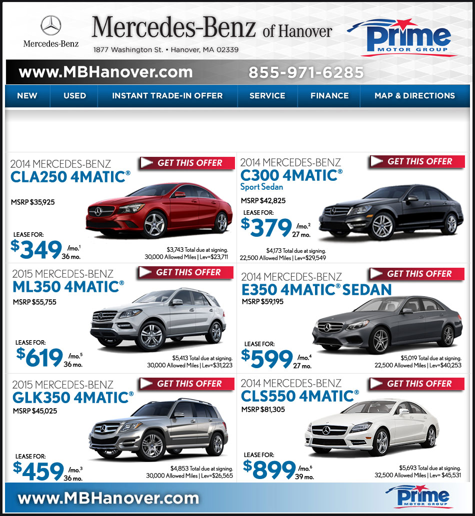 Mercedes benz of hanover new car offers for Mercedes benz hanover