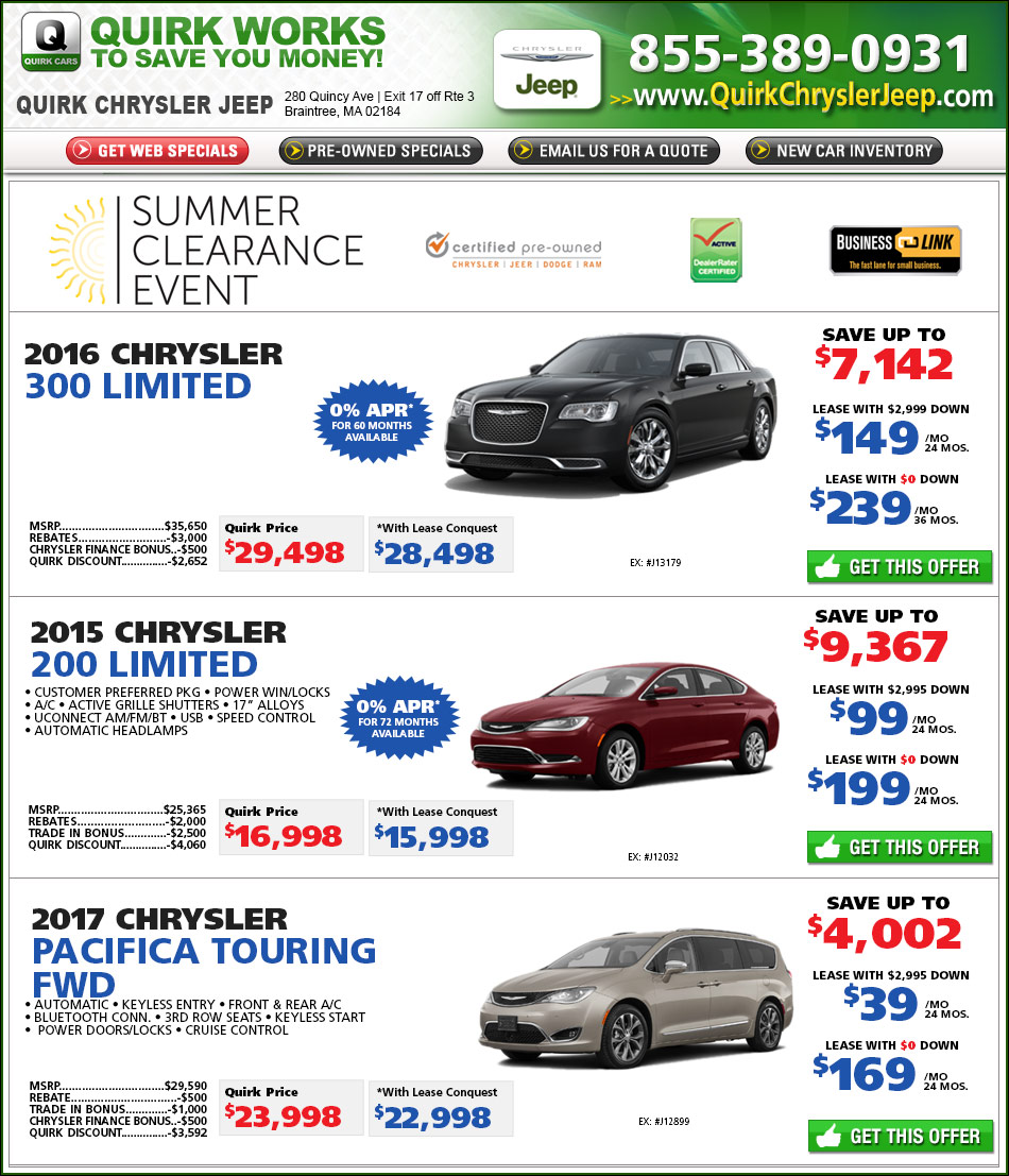Quirk Chrysler New Car Specials Online At Boston.com