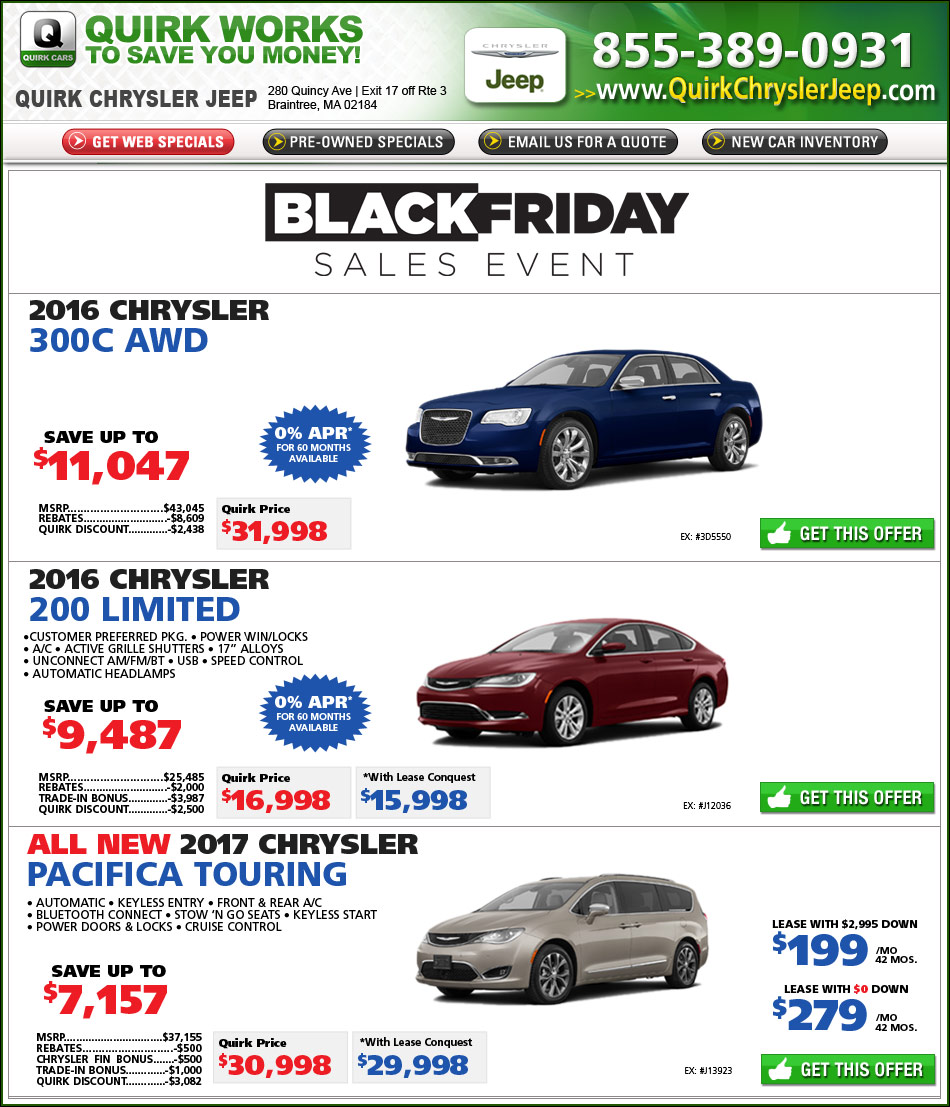 Lease A Chrysler: Quirk Chrysler New Car Specials Online At Boston.com
