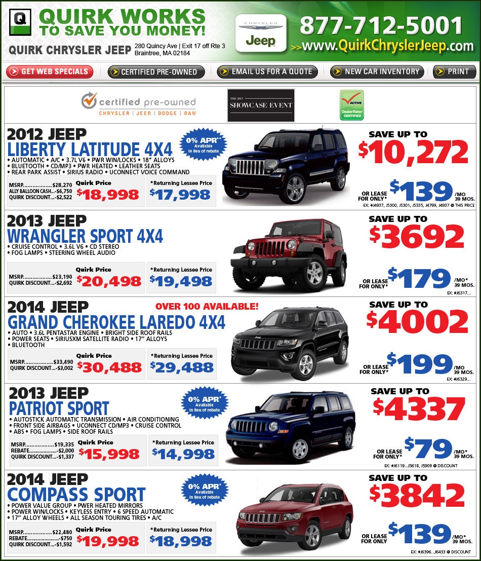 Shop Quirk Chrysler Jeep Specials Online at Boston.com