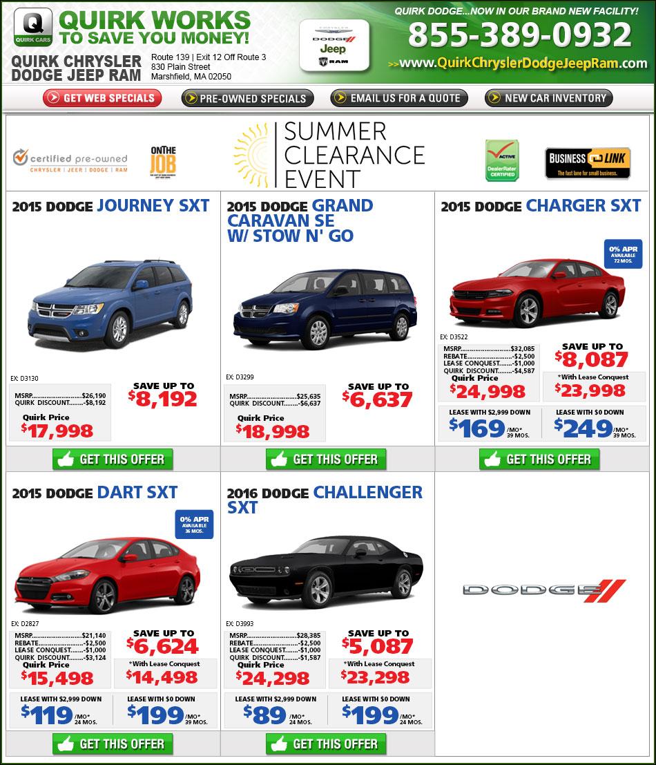 Quirk Dodge New Car Specials Online At Boston.com