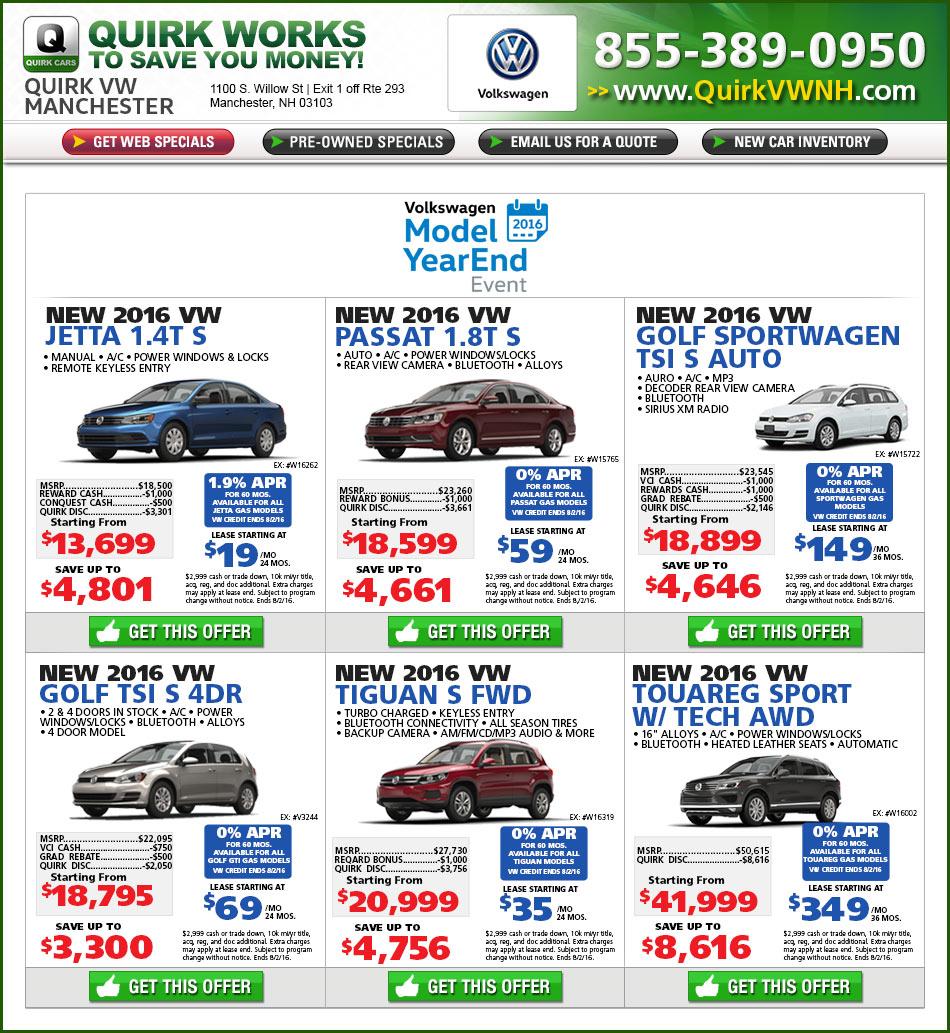 Shop Quirk Volkswagen Manchester, NH Specials Online at ...