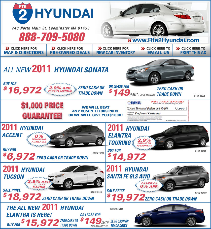 $0 Down Lease Specials >> Leominster Hyundai Dealers : Rte 2 Hyundai Car Deals