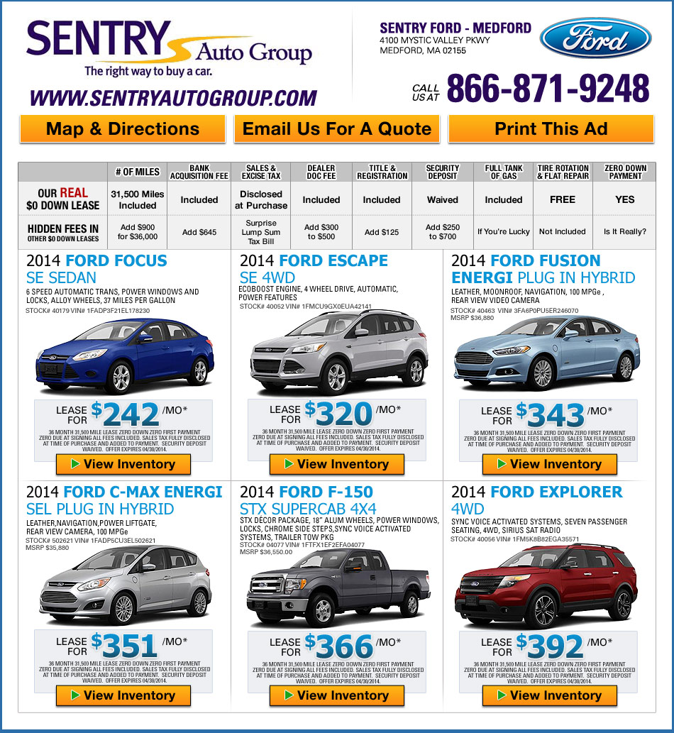 Ford Lease Deals Sentry Ford In Medford