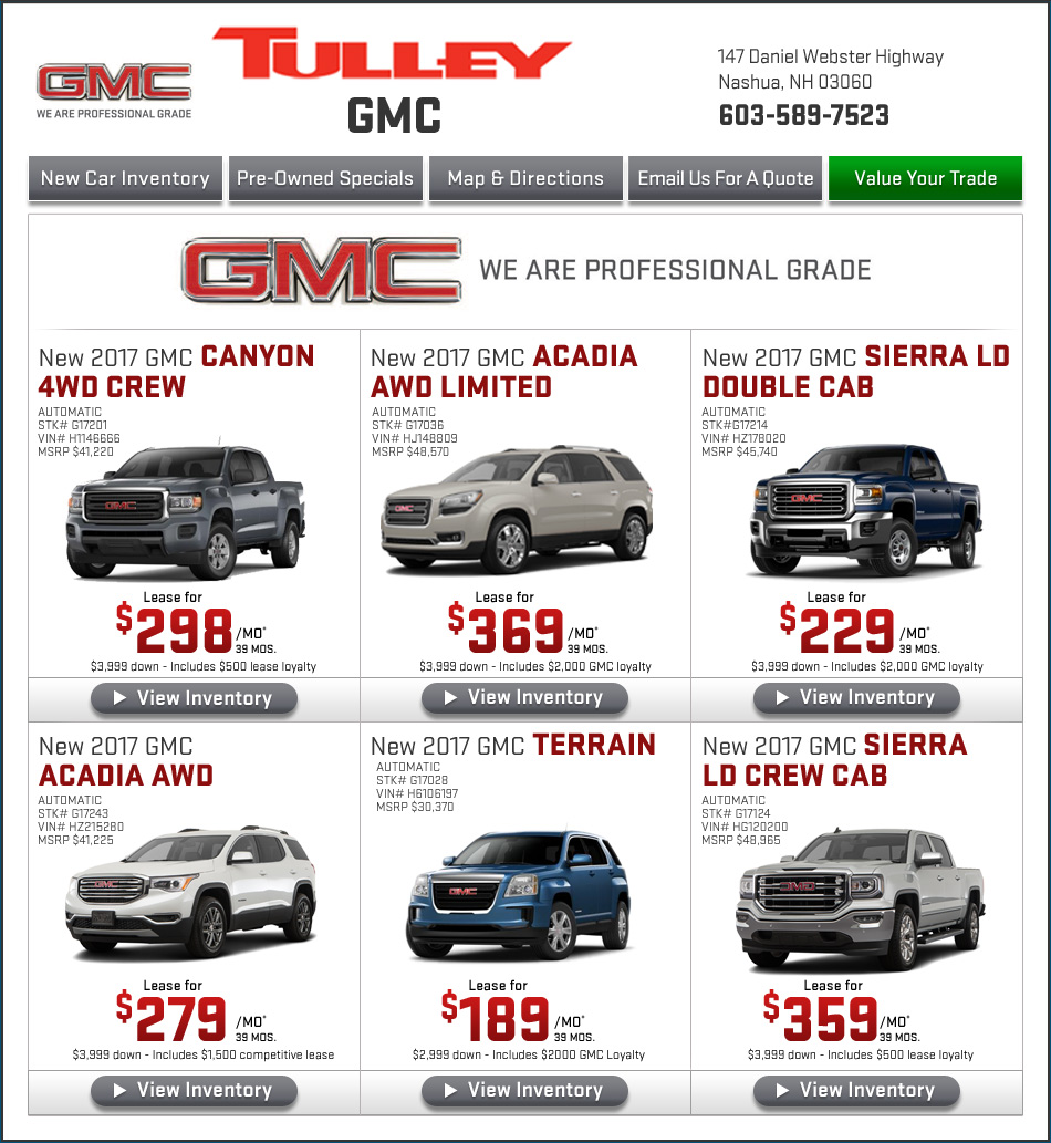 Buick Lease Deal: Tulley GMC New Hampshire New Car Specials